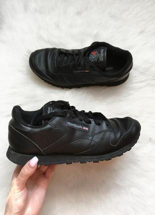 Чёрные кожаные кроссовки reebok classic натуральная кожа классики