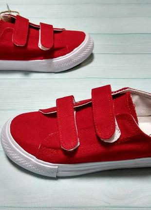 Кеды красные унисекс с застежками липучками
