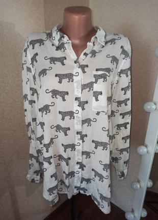 Хлопковая рубашка блуза от h&m с леопардами коттон