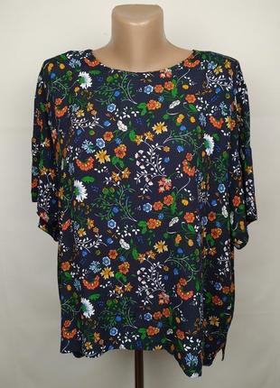 Блуза натуральная красивая в принт h&m uk 16/44/xl