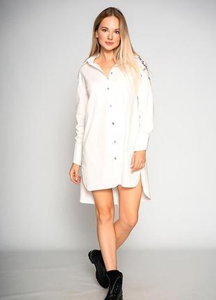 """Удлиненная женская белая блуза """"design""""1 фото"""