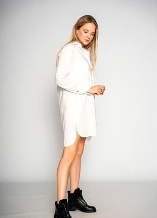 """Удлиненная женская белая блуза """"design""""4 фото"""