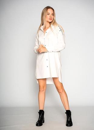 """Удлиненная женская белая блуза """"design""""2 фото"""