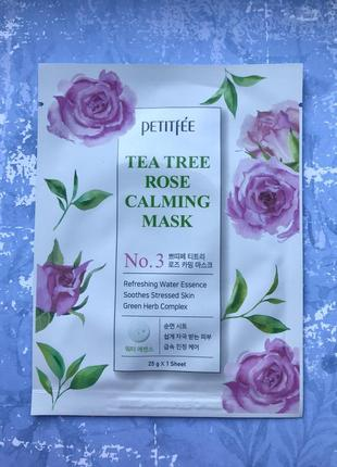 Тканевая маска с чайным деревом и розой petitfee tea tree rose calming mask