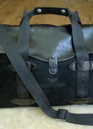 Vip! дорожная (спортивная) кожаная сумка giorgio armani