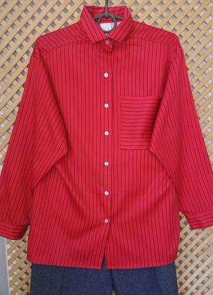 Красная рубашка оверсайз в полоску