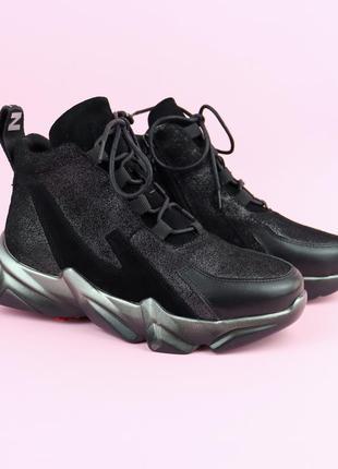 Для мамы и дочки демисезонные черные кроссовки для девочки