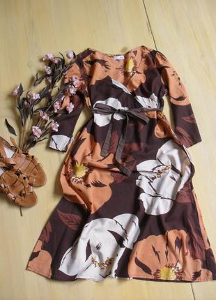 Очень красивое платье миди в крупный цветочек легкое mdm-м-ка