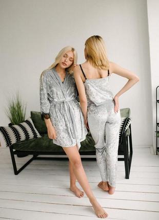 Женская пижама набор четверка из мраморного велюра серая m / l