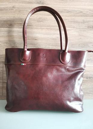 Женская итальянская сумка натуральная кожа классика vera pelle italy италия на одно плечо