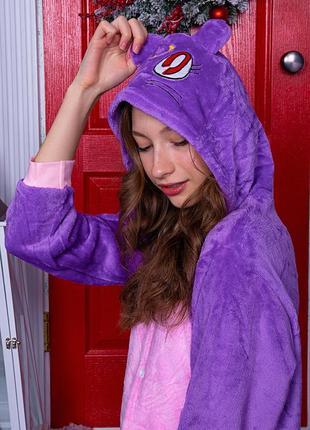Кигуруми - пижама фиолетовый кот детская / женская / мужская