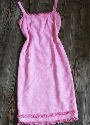 Винтажный твидовый сарафан платье миди люкс бренда fenn wright manson в стиле chanel