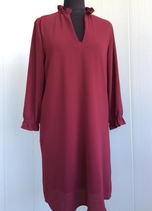 Очаровательное платье цвета марсала h&m