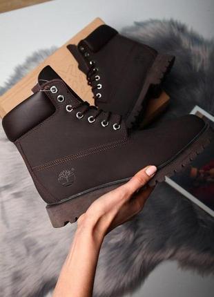 Ботинки timberland brown темно-коричневый натуральный нубук