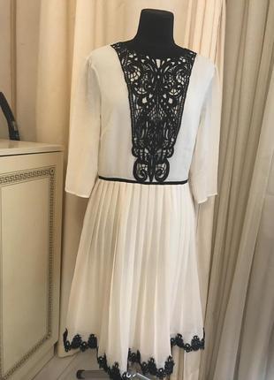 Акция!!! красивое шифоновое платье плиссе с кружевом