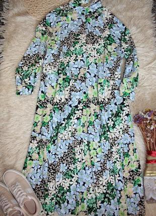 Красивое свободное платье в пол . длинное платье со шлярой . платье в цветы1 фото