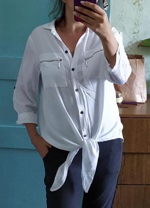 Біла рубашка на завязках🌈🌹🌺,*34