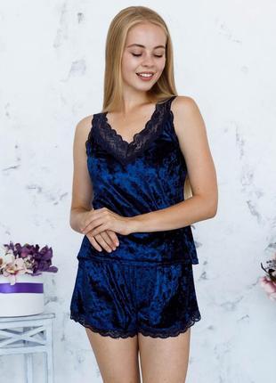 Mito julia 1600 майка шорты комплект пижама мраморный велюр темно синий