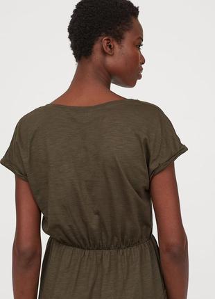 Базовое платье до колен с карманами цвета хаки3 фото
