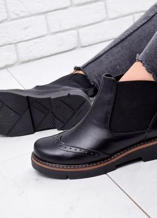 Новые женские кожаные чёрные демисезонные ботинки челси2 фото
