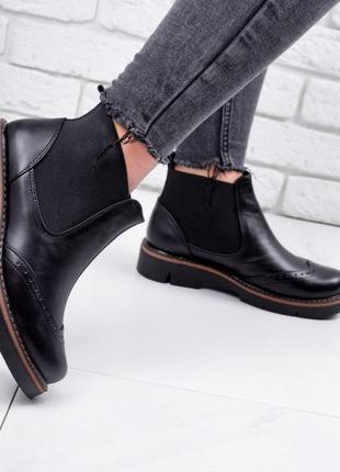 Новые женские кожаные чёрные демисезонные ботинки челси3 фото