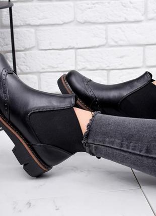 Новые женские кожаные чёрные демисезонные ботинки челси4 фото