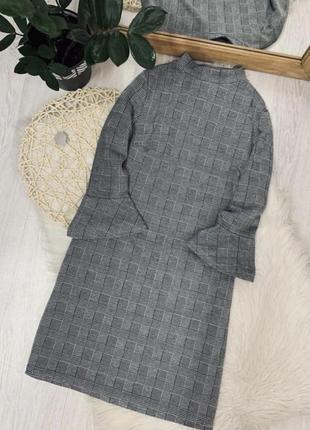 Красивое платье в клеточку3 фото