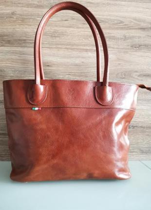 Vera pelle italy деловая женская итальянская коричневая сумка из кожи плечо италия купить1 фото