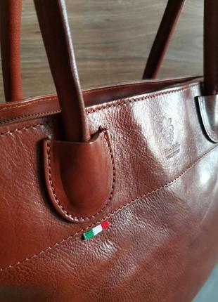 Vera pelle italy деловая женская итальянская коричневая сумка из кожи плечо италия купить4 фото