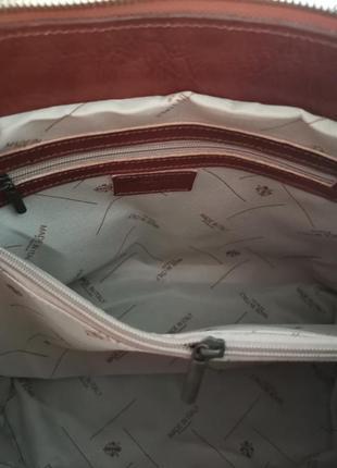 Vera pelle italy деловая женская итальянская коричневая сумка из кожи плечо италия купить6 фото