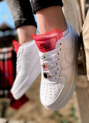 Nike air force шикарные женские кроссовки найк в белом цвете кожаные (36-40)💜10 фото