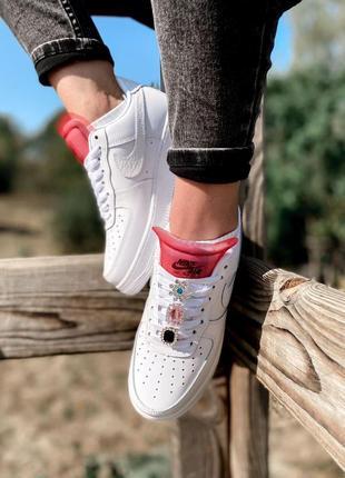 Nike air force шикарные женские кроссовки найк в белом цвете кожаные (36-40)💜8 фото