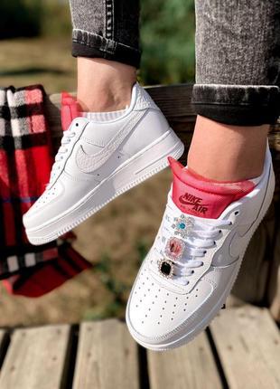 Nike air force шикарные женские кроссовки найк в белом цвете кожаные (36-40)💜9 фото