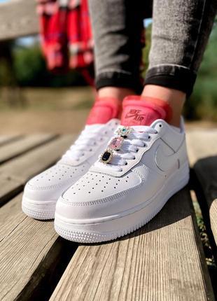 Nike air force шикарные женские кроссовки найк в белом цвете кожаные (36-40)💜1 фото