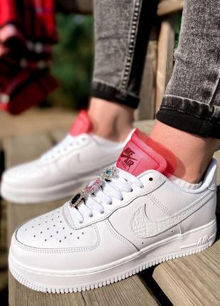 Nike air force шикарные женские кроссовки найк в белом цвете кожаные (36-40)💜4 фото