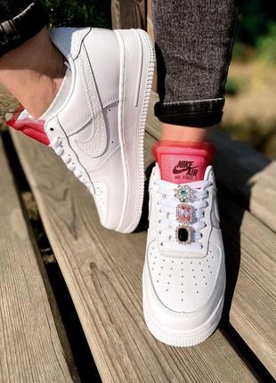 Nike air force шикарные женские кроссовки найк в белом цвете кожаные (36-40)💜3 фото