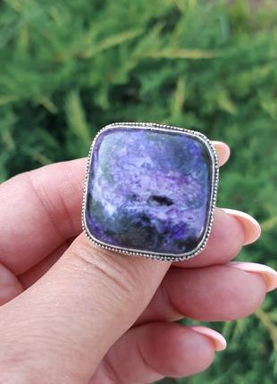 Кольцо с чароитом в серебре размер 17,52 фото