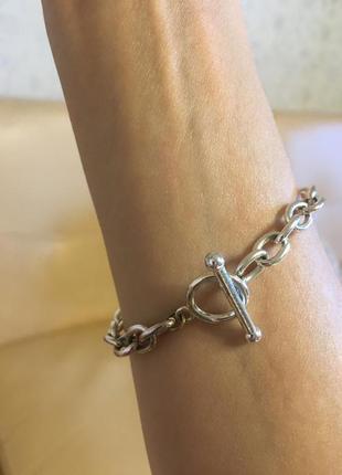 Массивная цепь браслет на руку2 фото