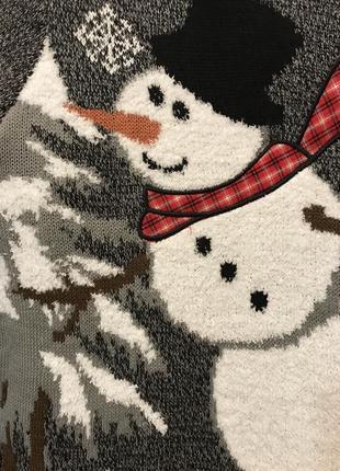 Нереально крутой брендовый вязаный свитер со снеговиком.10 фото
