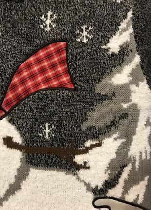 Нереально крутой брендовый вязаный свитер со снеговиком.9 фото