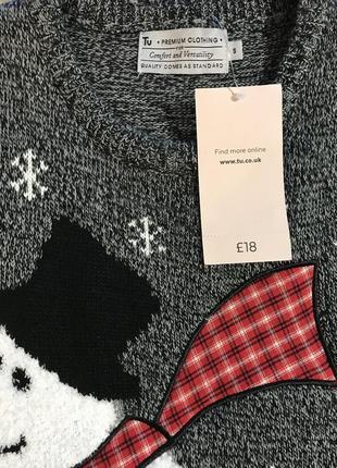 Нереально крутой брендовый вязаный свитер со снеговиком.3 фото
