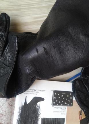 Черные кожаные перчатки4 фото
