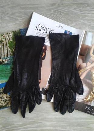 Черные кожаные перчатки6 фото