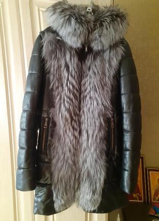 Зимняя  куртка пуховик из натуральной кожи с чернобуркой