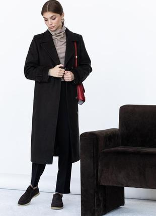 Шерстяное пальто ровного кроя с манжетами4 фото