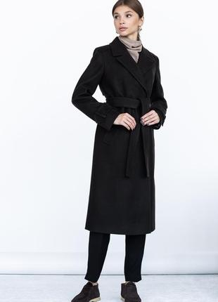 Шерстяное пальто ровного кроя с манжетами2 фото