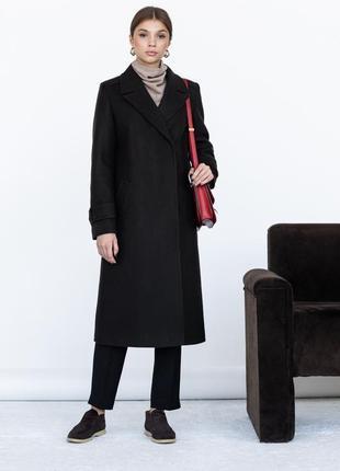 Шерстяное пальто ровного кроя с манжетами3 фото