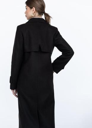 Шерстяное пальто ровного кроя с манжетами5 фото