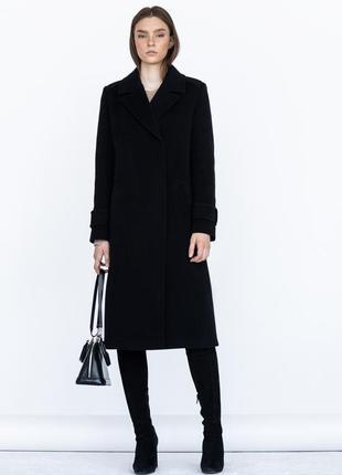 Пальто ровного кроя с манжетами шерсть зима демисезон2 фото