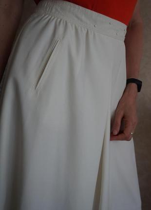 Юбка миди тонкая шерсть высокая посадка айвори винтаж max mara стиль4 фото